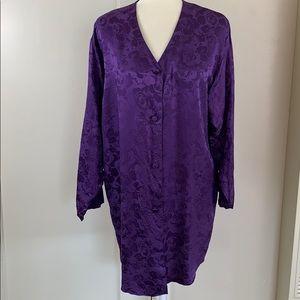 100% silk purple rose print Adonna sleep shirt PJs